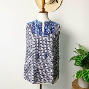 J. Crew | Sleeveless Embroidered Tassel Top